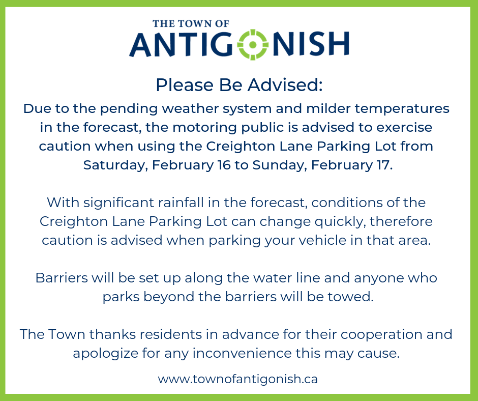 Notice from the Town to please use caution when parking in the Creighton Lane Parking Lot on February 16 and 17 due to rain in the forecast.