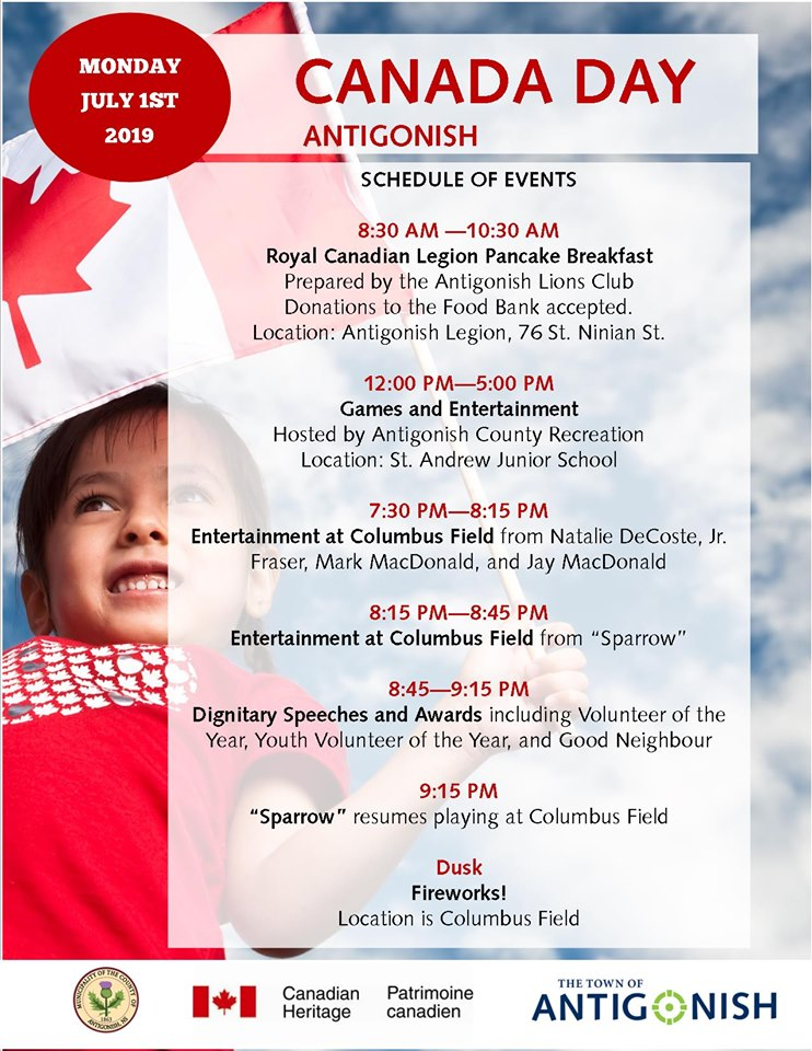 Canada Day Schedule of Events as listed above.